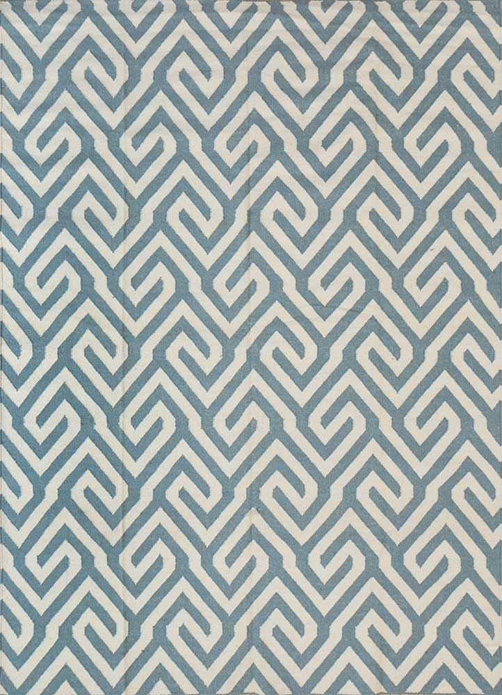 SDWL-143 Aruba Blue/White blue wool flat weaves Rug