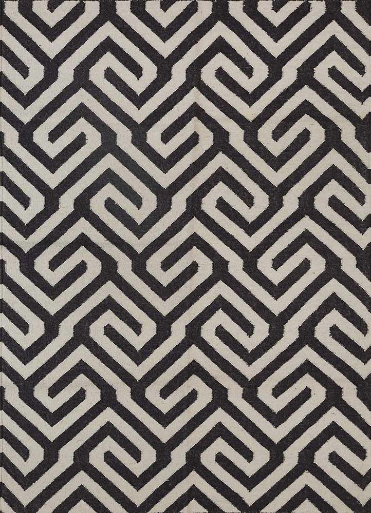 SDWL-143 Black Olive/White grey and black wool flat weaves Rug
