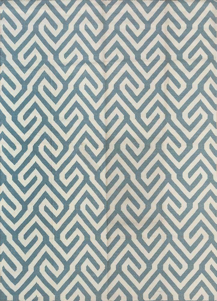 SDWL-143 Deep Sea/White green wool flat weaves Rug