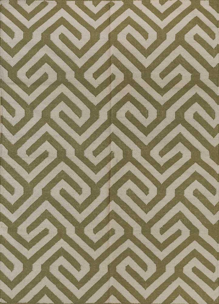 SDWL-143 Lime Green/White green wool flat weaves Rug