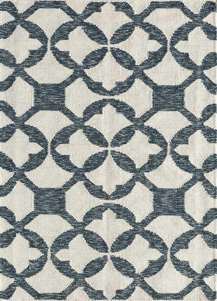 SDWL-146 White/Indigo Blue ivory wool flat weaves Rug