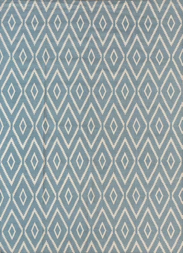SDWL-148 Aruba Blue/White blue wool flat weaves Rug