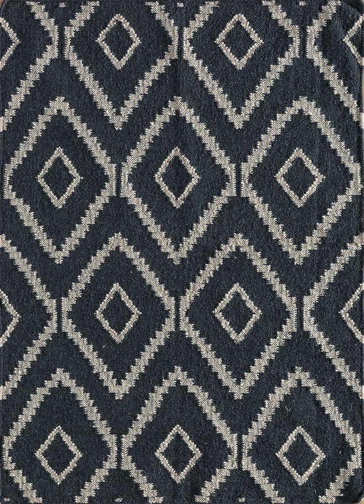 anatolia grey and black wool flat weaves Rug - HeadShot