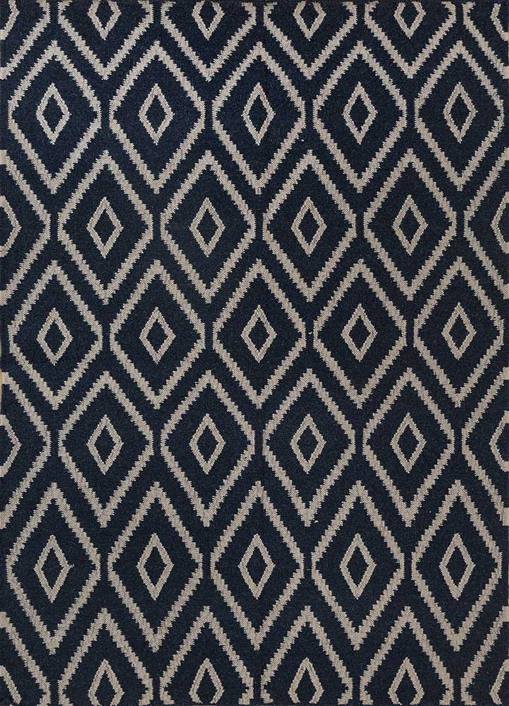 SDWL-148 Deep Navy/Classic Gray blue wool flat weaves Rug