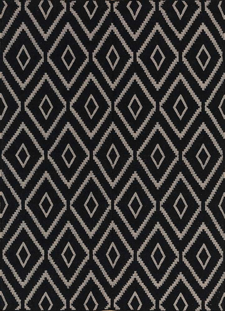 SDWL-148 Ebony/Soft Gray grey and black wool flat weaves Rug