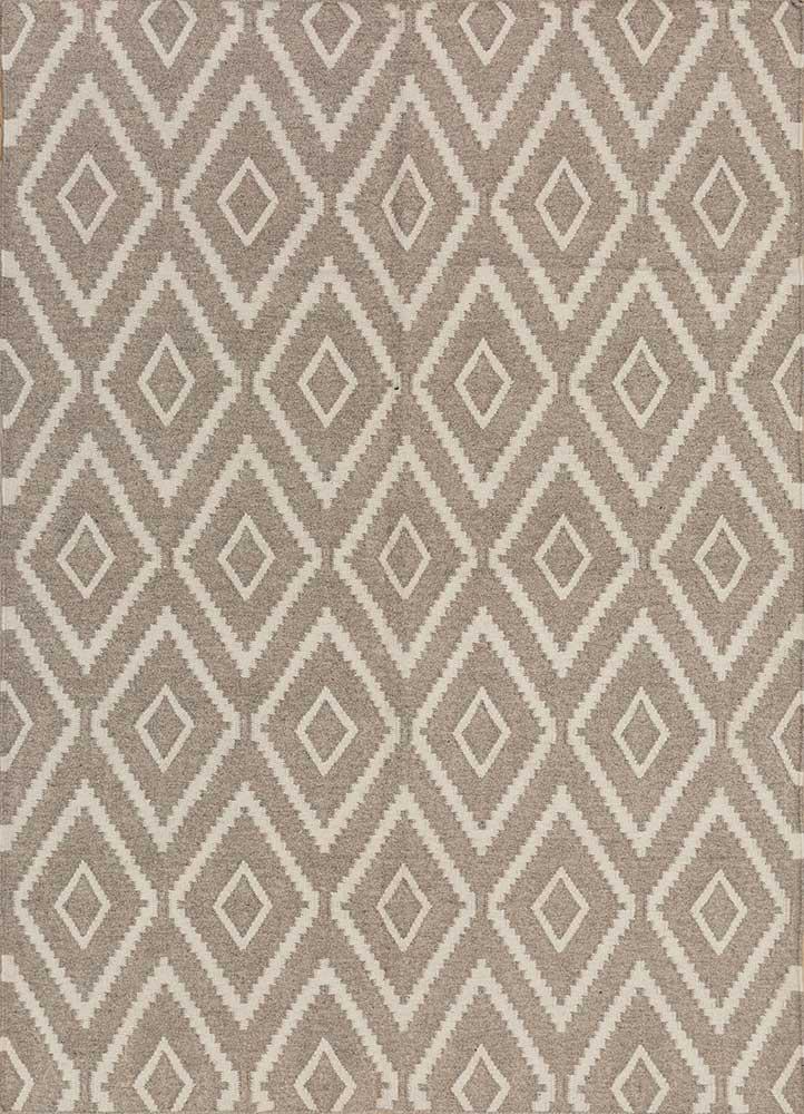 SDWL-148 Gray/White beige and brown wool flat weaves Rug