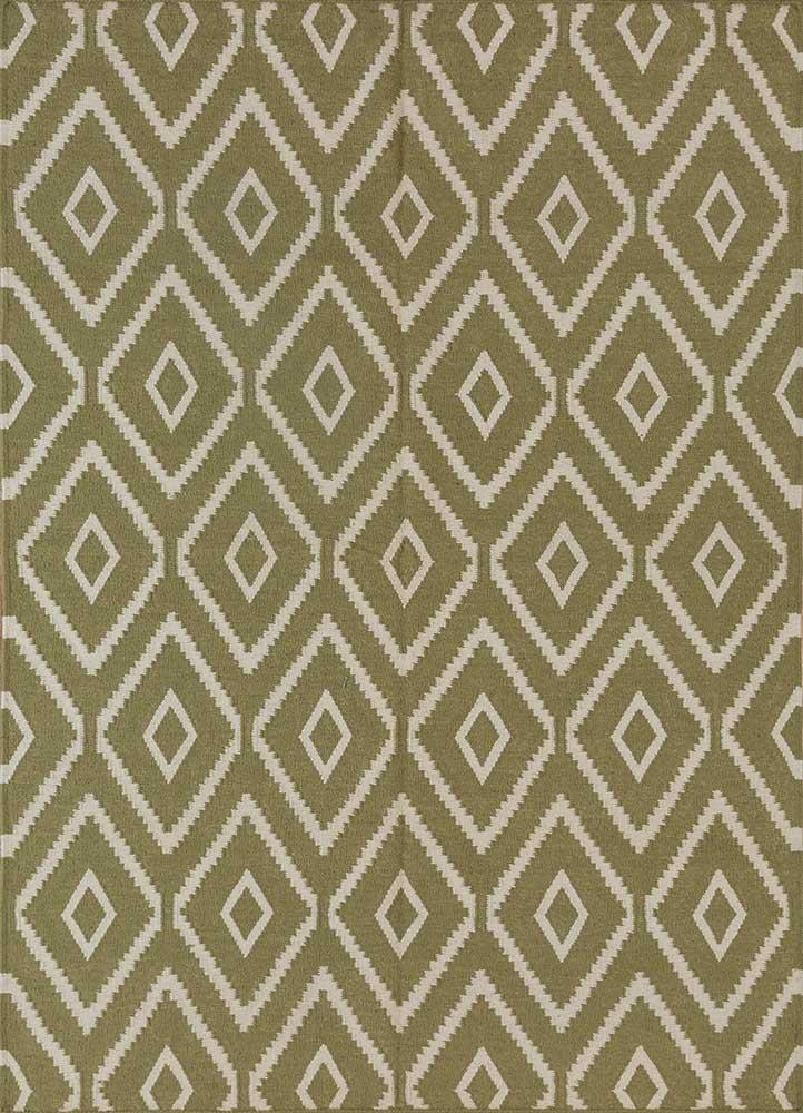 SDWL-148 Lime Green/White green wool flat weaves Rug