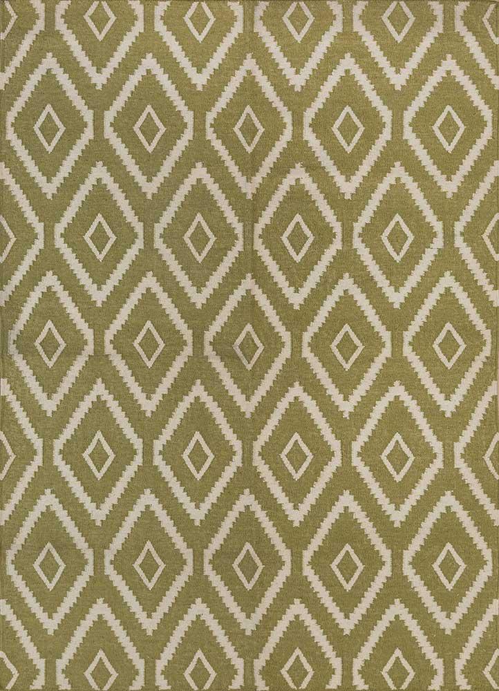 SDWL-148 Oasis Green/White green wool flat weaves Rug