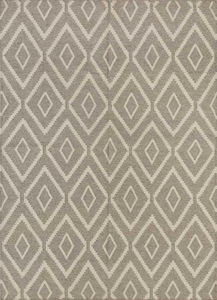 SDWL-148 Plaza Taupe/White grey and black wool flat weaves Rug