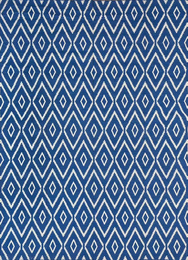 SDWL-148 Twilight Blue/White blue wool flat weaves Rug