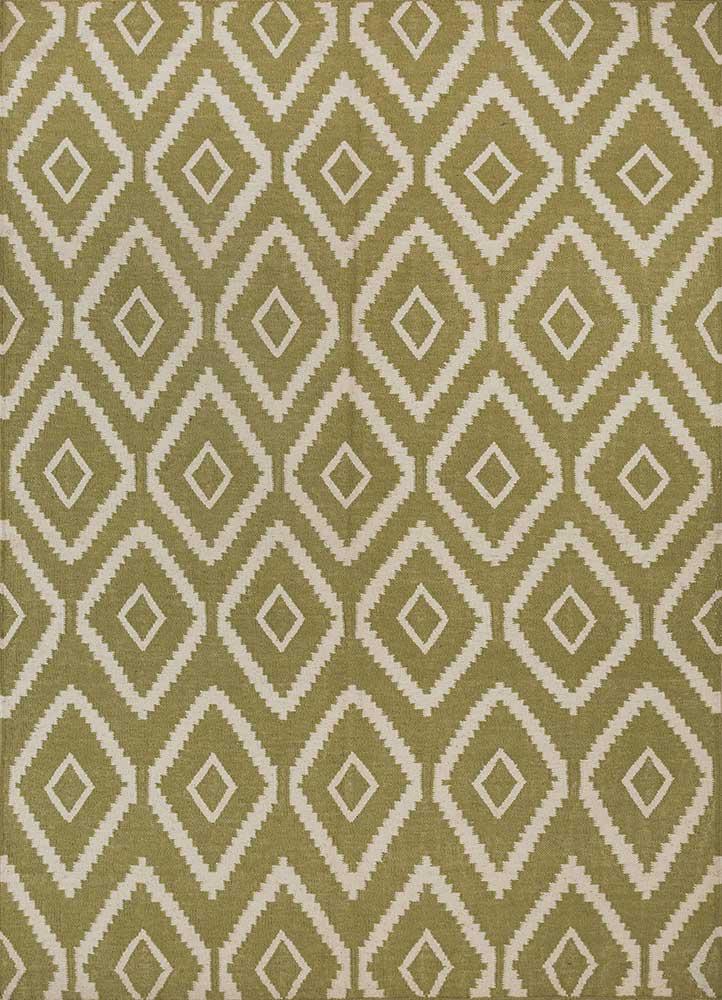 SDWL-148 Vibrant Green/White green wool flat weaves Rug