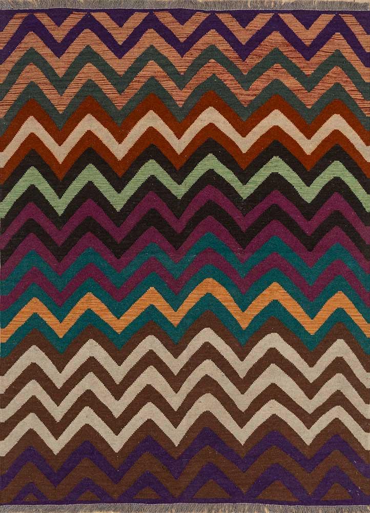 anatolia pink and purple wool flat weaves Rug - HeadShot