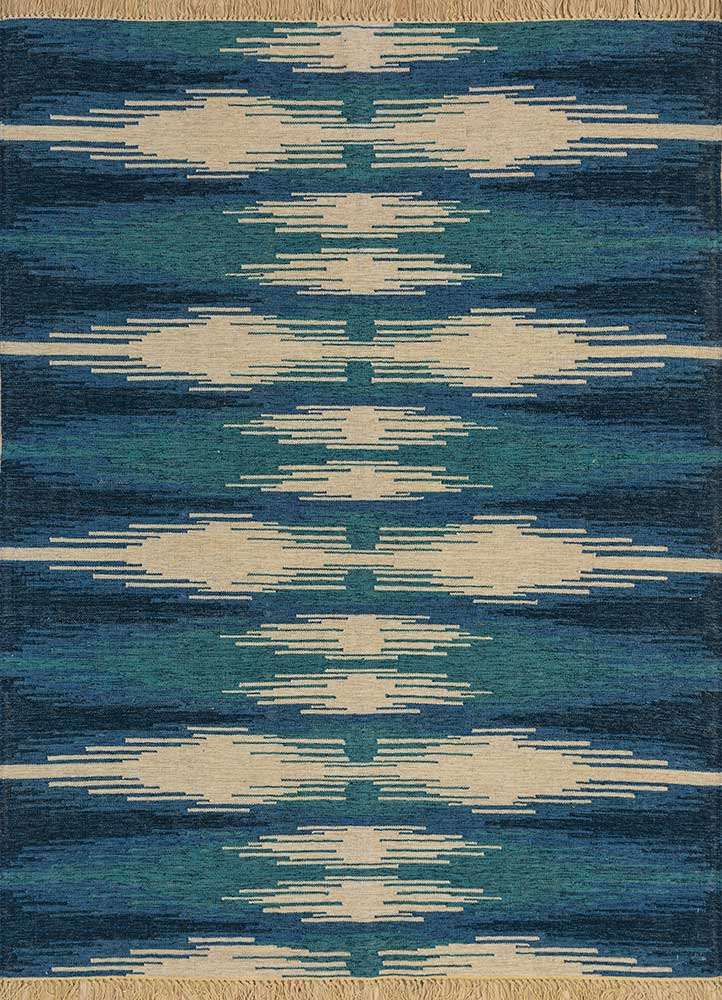 aqua green wool flat weaves Rug - HeadShot