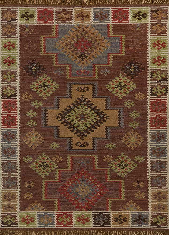 bedouin beige and brown wool flat weaves Rug - HeadShot