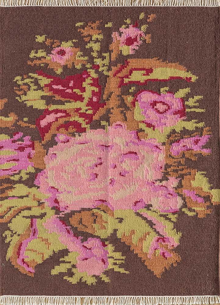 heritage pink and purple wool flat weaves Rug - HeadShot