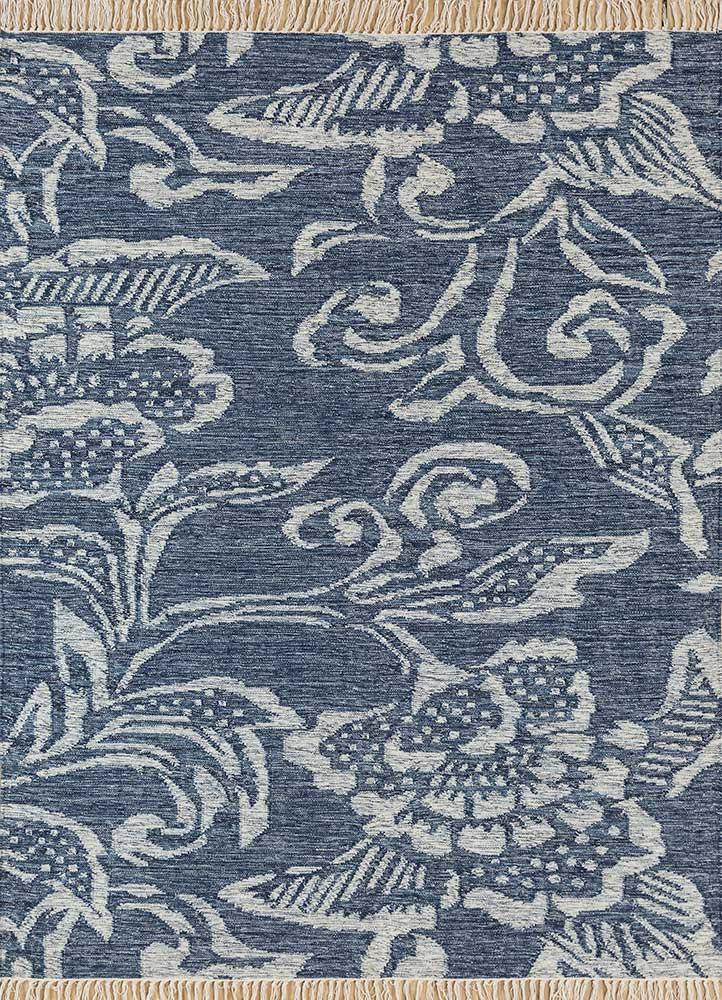 heritage blue wool flat weaves Rug - HeadShot