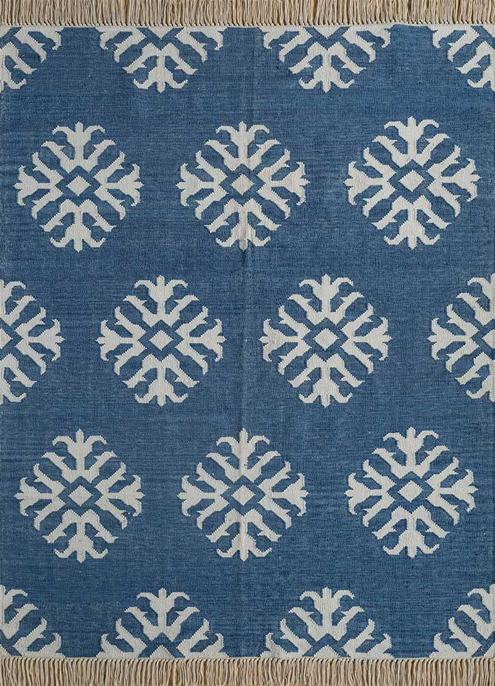 SDWL-327 Aegean Blue/White blue wool flat weaves Rug