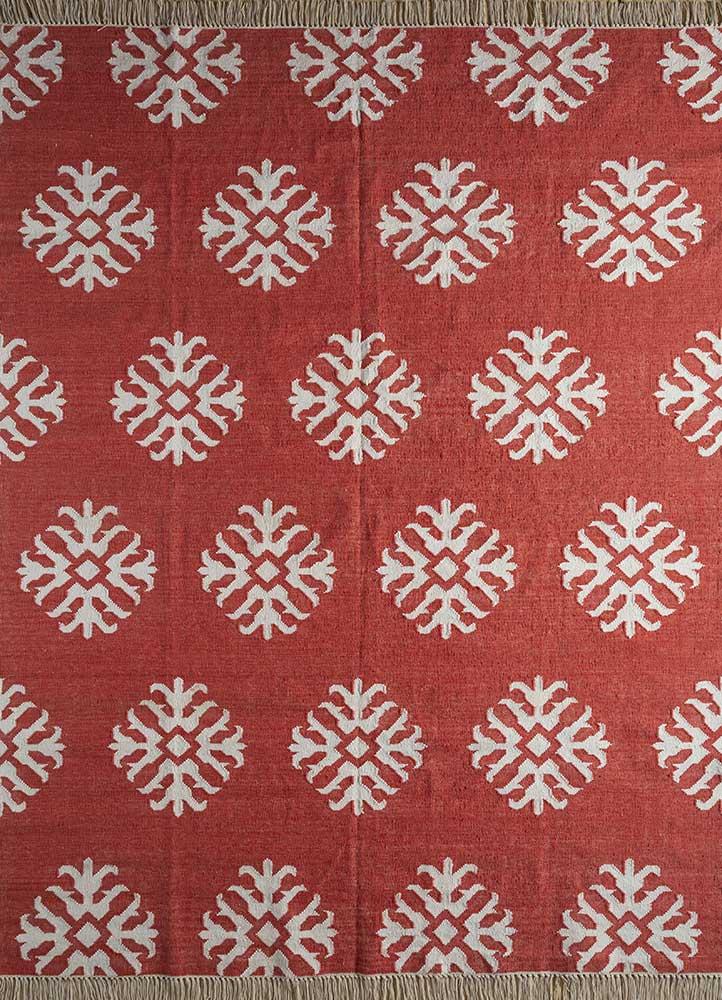 heritage red and orange wool flat weaves Rug - HeadShot