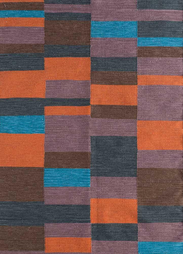 aqua beige and brown wool flat weaves Rug - HeadShot