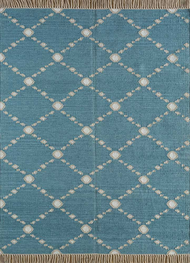 SDWL-342 Sea Green/White green wool flat weaves Rug