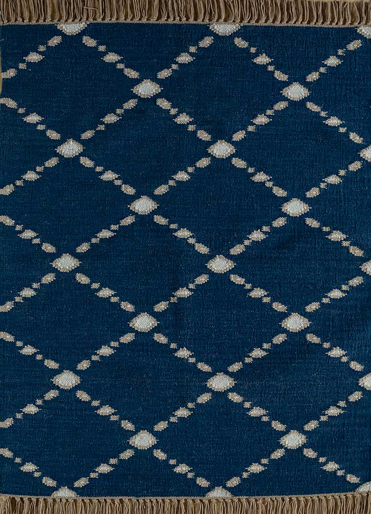 indusbar blue wool flat weaves Rug - HeadShot