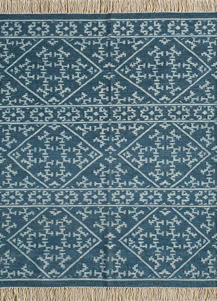 SDWL-348 Dark Navy/White blue wool flat weaves Rug