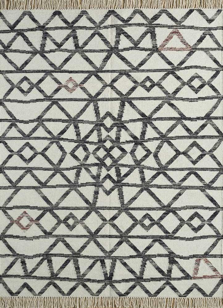 SDWL-377 White/Ebony ivory wool flat weaves Rug
