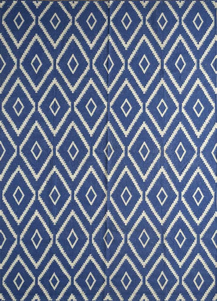 SDWL-378 Medium Cobalt/White blue wool flat weaves Rug