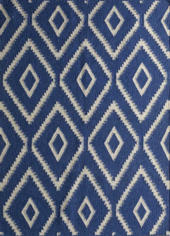 SDWL-378 Twilight Blue/White blue wool flat weaves Rug