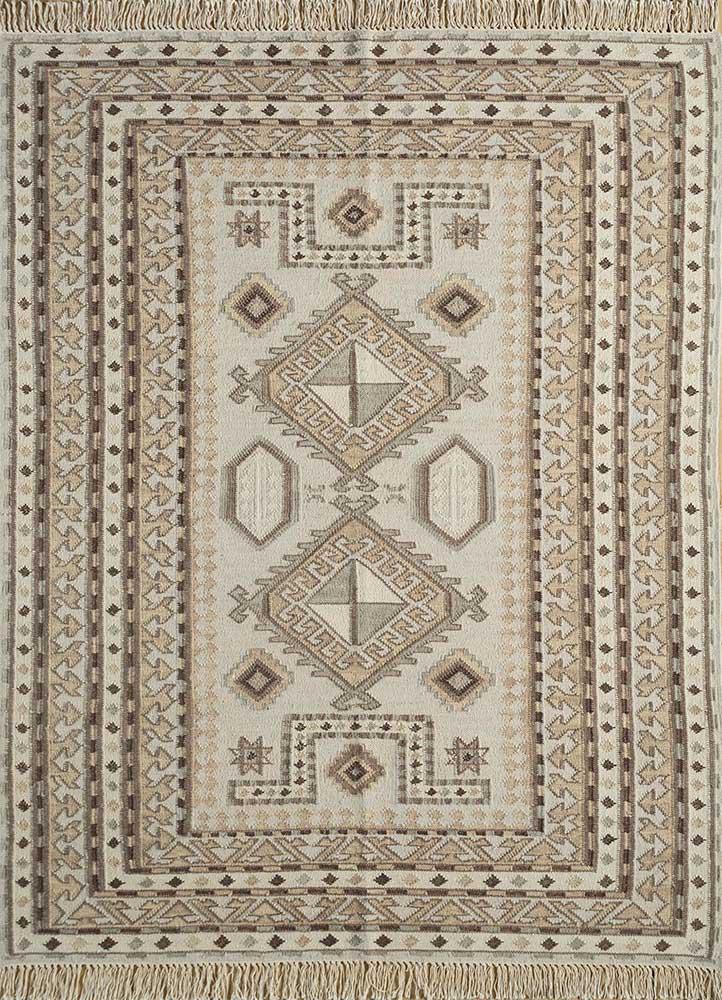 SDWL-384 White Ice/Brown ivory wool flat weaves Rug