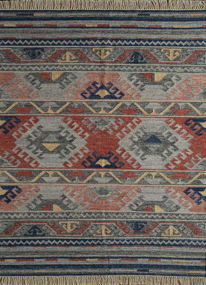 bedouin blue wool flat weaves Rug - HeadShot