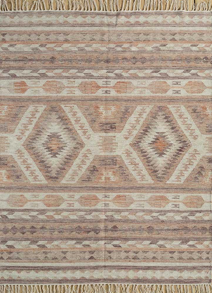 SDWL-471 Rose Petal/Ivory red and orange wool flat weaves Rug