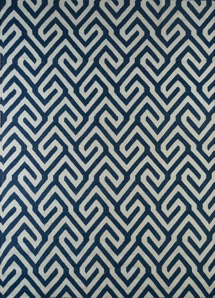 SDWL-482 Navy/White blue wool flat weaves Rug