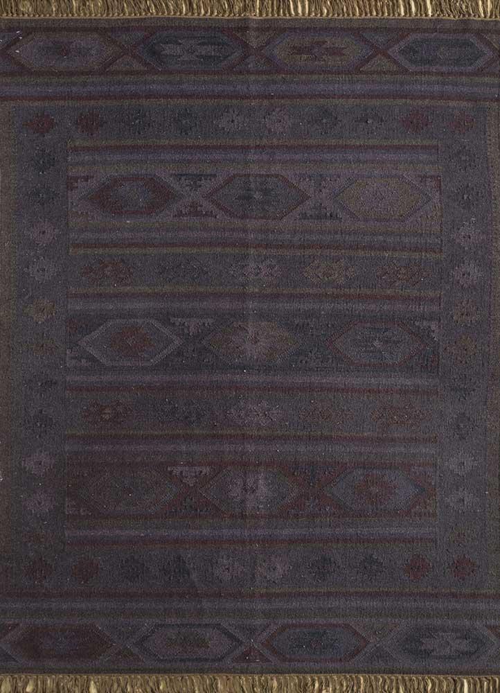 bedouin grey and black wool flat weaves Rug - HeadShot