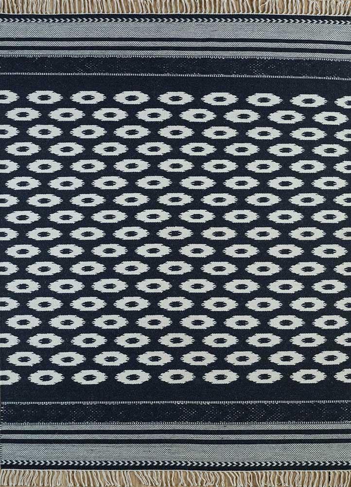 indusbar grey and black wool flat weaves Rug - HeadShot