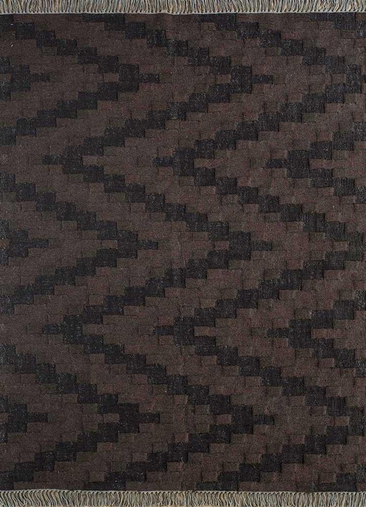 indusbar beige and brown wool flat weaves Rug - HeadShot