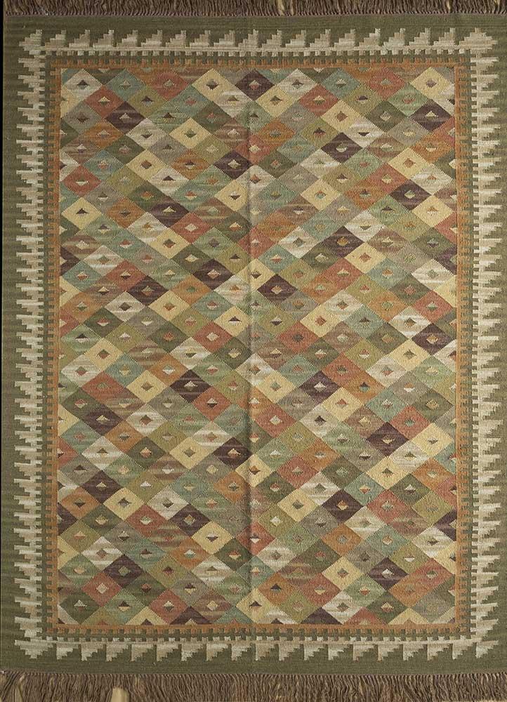 bedouin green wool flat weaves Rug - HeadShot