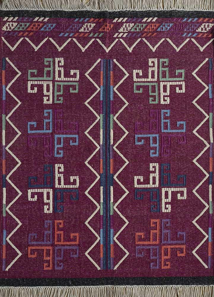 bedouin red and orange wool flat weaves Rug - HeadShot