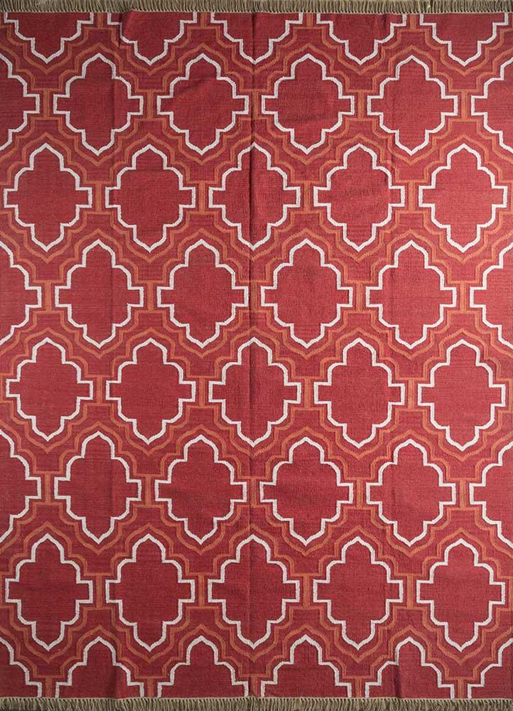indusbar red and orange wool flat weaves Rug - HeadShot