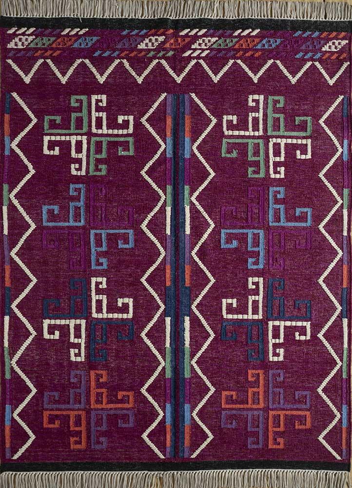 bedouin pink and purple wool flat weaves Rug - HeadShot