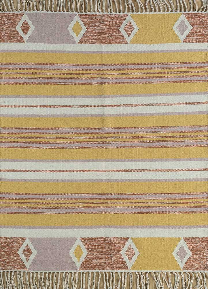 bedouin gold wool flat weaves Rug - HeadShot
