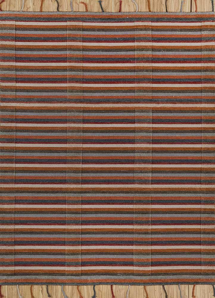tesoro red and orange wool hand loom Rug - HeadShot