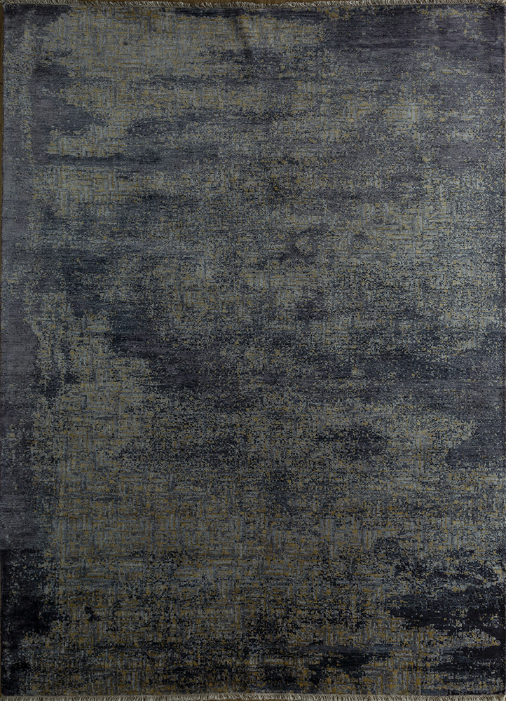 memoir grey and black bamboo silk hand knotted Rug - HeadShot