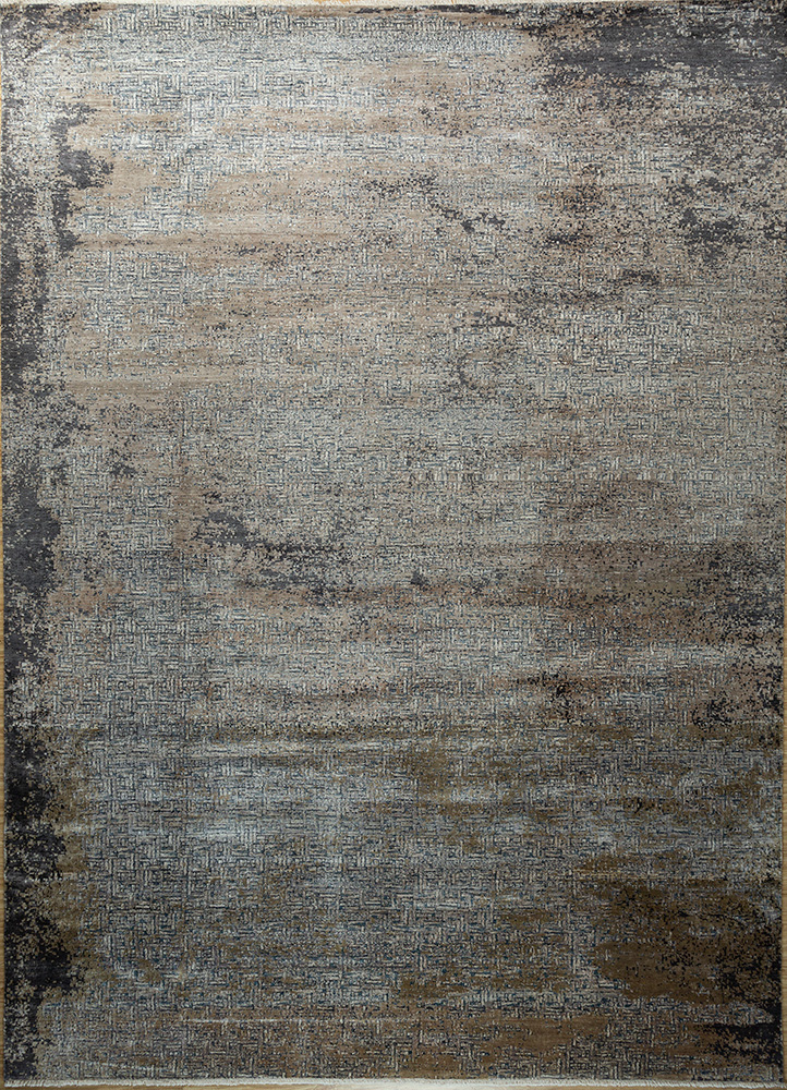 SKBS-05 Frost Gray/Black Olive grey and black bamboo silk hand knotted Rug