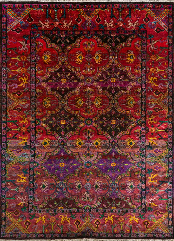 verna red and orange others hand knotted Rug - HeadShot