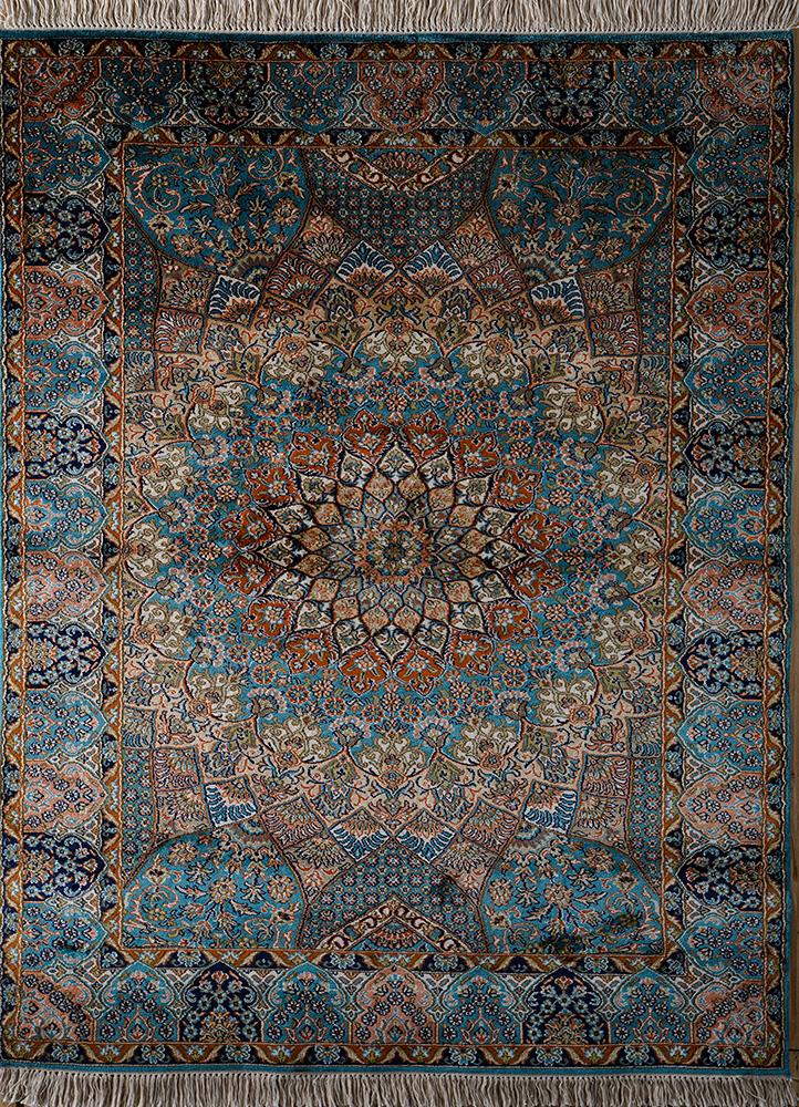 gulmarg blue silk hand knotted Rug - HeadShot