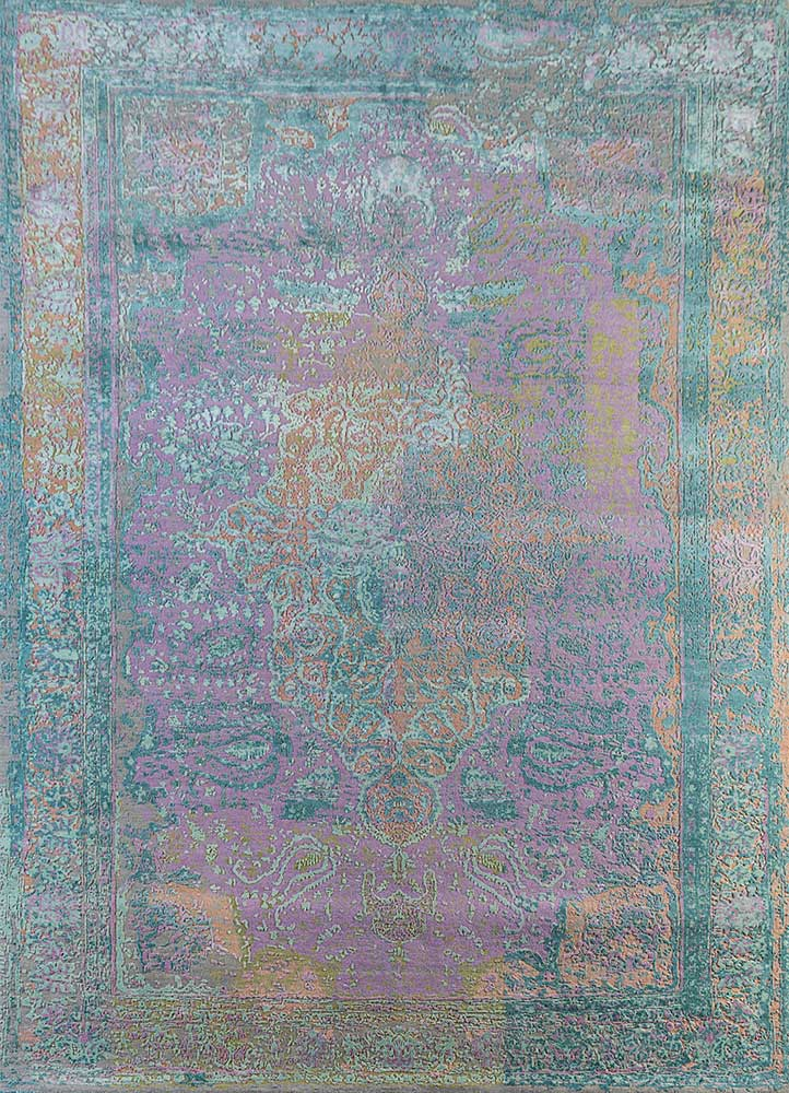 far east pink and purple wool and silk hand knotted Rug - HeadShot