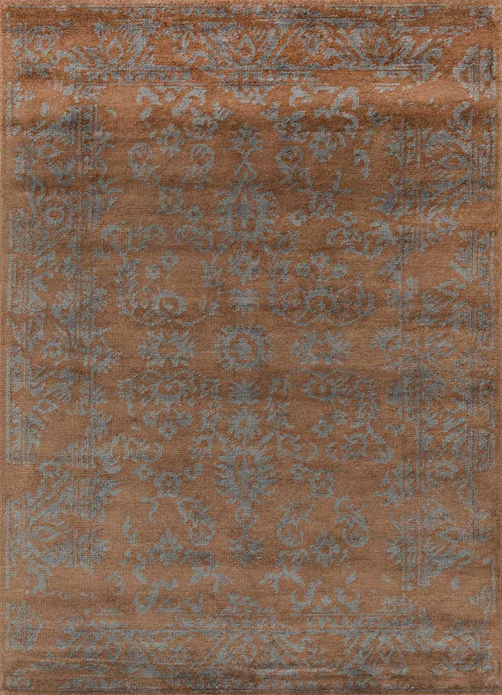 eden beige and brown wool and bamboo silk hand knotted Rug - HeadShot