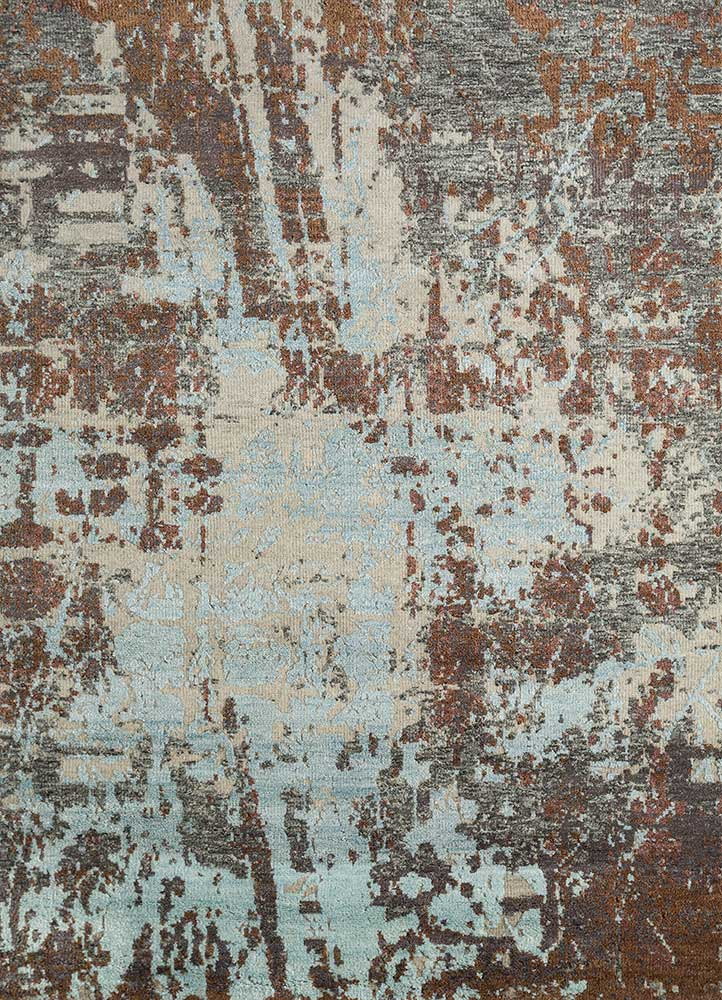 esme green wool and bamboo silk hand knotted Rug - HeadShot