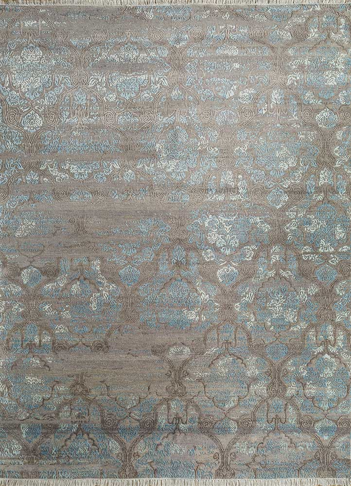 blithe beige and brown wool and bamboo silk hand knotted Rug - HeadShot